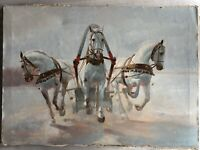 """Original Signed Oil on Canvas Painting White Horses by Zharikov Russian 1989 27"""""""