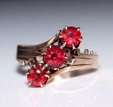 Victorian 14k Rose Gold 3 Almandine Garnet Ring, Antique Ring, Size 10