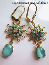 Edwardian earrings turquoise vintage drop Art Nouveau Art Deco dainty