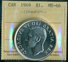 1949 NL Commem. Canada King George VI Silver Dollar ICCS MS-66! Cert.# XAP 048
