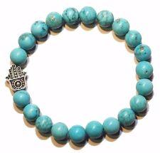 Tibetan Silver Hamza Hand, Blue Turquoise Natural Gemstone Beaded Bracelet