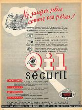 PUBLICITE ADVERTISING 045  1954  OIL SECURIT   accessoires voiture