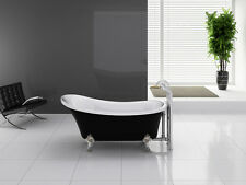 "Freestanding Modern Seamless Acrylic Bathtub Cesano Black 63"" by IPAX Cabinets"