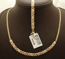 Crystal Hugs Kisses Bracelet Necklace Or Set Bizmark Chain 14k Gold Clad Silver
