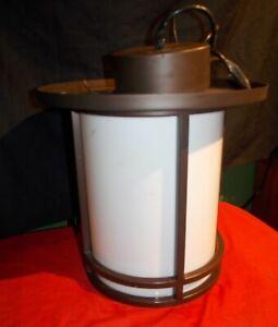 LIGHT FIXTURE PENDANT MODERN BROWN METAL W/ OPAQUE GLASS RETRO DECO