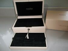 Pandora Limited Edition Cream Leather Jewellery Box 2 Tier Boxed