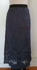 MOTTO Navy Blue Lace Stretch Skirt Size 18 BNWT