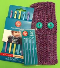 Boye Plastic Crochet Hook Set, Plastic Yarn Needles and Purple Crocheted Case