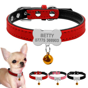 Personalised Leather Pet Puppy Cat Small Dog Collars&Slide On Bone Tag XXS XS S