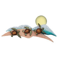 """WALL SCULPTURES - """"DASH TO THE OCEAN"""" SEA TURTLE METAL WALL SCULPTURE - NAUTICAL"""