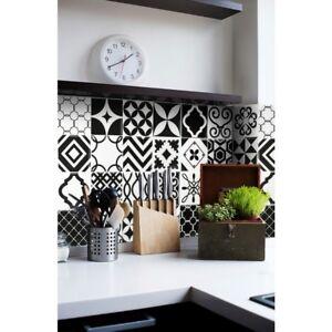 Smart Tiles Vintage Bilbao Black White Mosaic Peel and Stick Backsplash Tile Diy