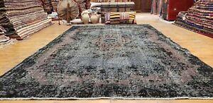 Antique 1930-1939s Wool Pile Overdyed Oushak Bohemian Area Rug 6x9ft