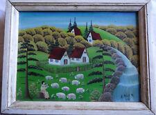 Tableau naif paysage aux moutons