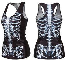 Women Summer T-shirt Punk Racerback Tank top Vest 3D Print Camisole ME