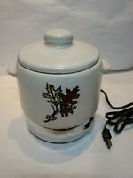 """Vintage"" West Bend  Stoneware Pottery lidded Bean Crock Pot ,with warmer"