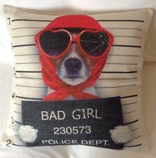 "Bad Girl Police Dept Dog Cushion Cover- Cotton linen 17""x17"""