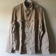Ralph Lauren Rugby 100% Linen Long Sleeve Button Military Khaki Safari Shirt M
