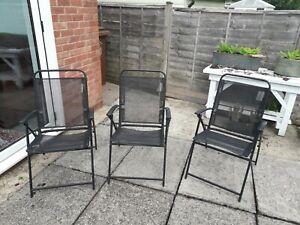 3 black steel folding garden , campling chairs
