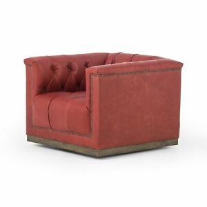"""33"""" W Box Swivel Club Chair Red Dye Color Hardwood Base Top Grain Leather Tufted"""