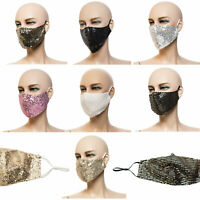 Party Mundmaske mit Pailletten bestickt Behelfsmaske Fashion-Maske Neu Glitzer