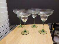 "Set of 4 Margarita 6 oz Glasses 7 3/8""  Green smooth stem hammered clear bowl"