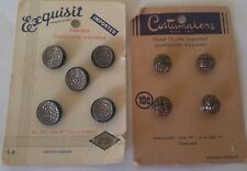 Lot of 9 Vintage 1950s Black Glass Dress Buttons Gold or Silver Luster on Card