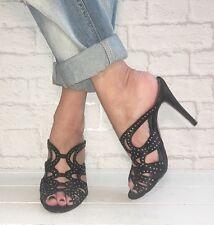 KURT GEIGER Black Diamanté Studded Strappy Stilettos Heels Mules Size 6