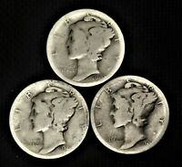 1920 PDS  Set of three Mercury Dimes  90% Silver Avg Circulated to Good