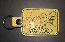 NEW EMBROIDERED BEE CREATIVE SNAP TAB,  KEY RING, LUGGAGE TAG, PURSE CHARM