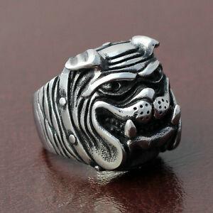 Men's Boy's Vintage Grinning Bulldog Pitbull Dog Pet Biker Ring Stainless Steel