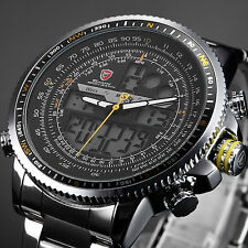 SHARK Military LCD Digital Analog Army Steel Quartz Sport Mens Wrist Watch Black