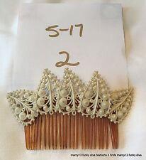 Sweet  Vintage Plastic Hair Comb w Dainty Plastic Filigree Leaves