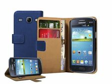 Wallet BLUE Leather Flip Case Cover Pouch for Samsung Galaxy Core Duos GT-i8262