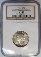 1954 Washington Silver Quarter 25c NGC MS 66 Richmond Collection Toned Pedigree