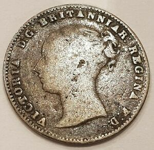 1857 Young Head Victoria Three Pence Silver Coin