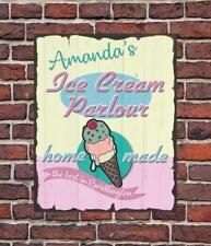PERSONALISED Retro Vintage Ice Cream Parlour Metal Wall Sign Gift Present