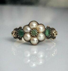14k Yellow Gold over 925 Sterling Silver Pearl Handmade Flower Design Ring Women