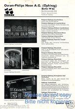 Osram Philips Neon AG Reklame von 1935 Neonreklame Leuchtwerbung Ophinag ad