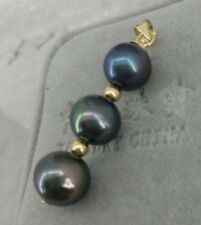 9-10 MM BLACK ROUND AAA+ NATURAL PEARL PENDANT NECKLACE 14K GOLD