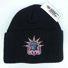 NEW YORK RANGERS NHL BLACK VTG KNIT CUFFED BEANIE SKI WINTER CAP HAT NEW LIBERTY