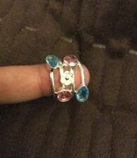 925 Genuine Sterling Silver Ring Jewelry With Lab Pink & Blue Topaz Size 8