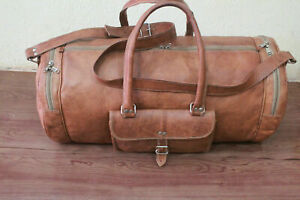 Waxed Large Leather Vintage Travel Gym Bag Weekend Overnight Duffle Bags Brown