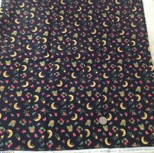 Mary Engelbreit Fabric / Moon, hearts, flowers on black background 1 Yard