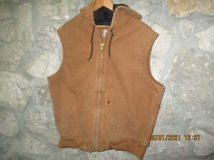 CARHARRT Men's Full Zip Brown Vest 14806 Hooded w/Quilted Cotton Lining 2XL EUC
