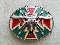 Vintage 1990 Southwest Longhorn Skull Belt Buckle Siskiyou L-89 Pewter/Enamel