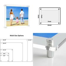 NIUBEE Clear Acrylic Wall Mount Floating Frameless Picture Frame Up to...