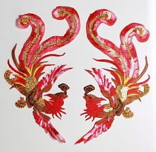 Grand Phoenix Patches Applique Patch Motif Iron On Sew On Bird Peacock (rouge)