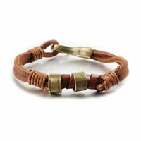 Women Men Simple Surfer Cool Hemp Cords PU Leather Bracelet Wristband Cuff New