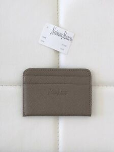 NWT! NEIMAN MARCUS Saffiano Leather Flat Card Holder Case Gray Compact Luxury
