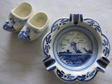 """Vintage DELFT BLUE HOLLAND SOUVENIRS  windmill 4"""" ashtray and clogs HAND PAINTED"""